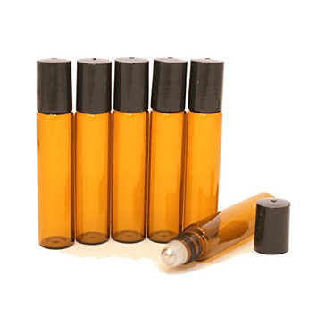 Roller Bottles for Essential Oils - Amber Glass Bottle with Metal Stainless Steel Ball - Great for Essential Oil, Aroma Therapy, and Perfume - Premium Quality