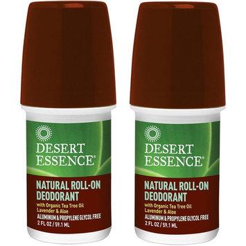 Desert Essence Natural Roll-On Deodorant, Pack of 2, 2 Fl. Oz. Each