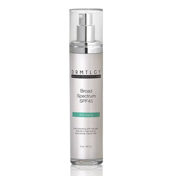 DRMTLGY Daily Anti Aging Face Sunscreen and Facial Moisturizer with Clear Broad Spectrum SPF 45. Features Zinc Oxide, Hyaluronic Acid, and Niacinamide. UVA and UVB Protection. 2 oz