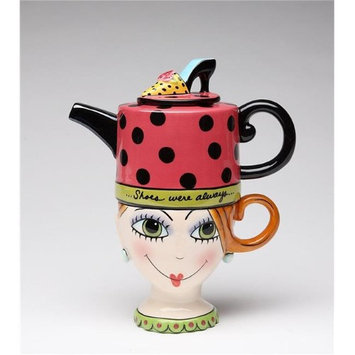 Cosmosgifts Shoes on Her Mind 0.31-qt. Tea Kettle Set for One