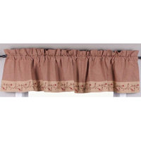 Primitive Home Decors Star Berry Vine Gingham Valance - Barn Red