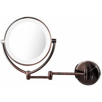 Ovente Wall Mount Mirror, Battery or USB Adapter Operated, Dimmable LED Lighted Makeup Mirror, 1x/7x Magnification, 9.5 inch, Antique Brass (MLW45AB1x7x)