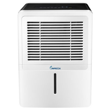 Impecca IDM30SE 30 Pint Portable Dehumidifier with Energy Star Electronic Controls Whisper Quiet Operation 2 Fan Speeds Large Bucket with Handle and Washable
