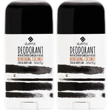 Alaffia - Coconut Reishi Activated Charcoal Deodorant, Odor Protection and Soothing Support from Shea Butter and Aloe Vera, Free of Aluminum, Sulfates, or Parabens, Coconut, 2 Ounces (2-Pack)