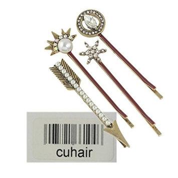 cuhair 4pcs Crystal Vintage Punk Metal Women Girl Hair Clip Barrettes Hair Claw Hair Accessories
