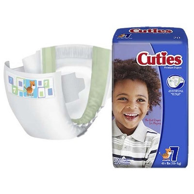 Cutie Collections Cuties Baby Diaper Tab Closure Size 7 Disposable Heavy Absorbency Case of 80 6 Pack