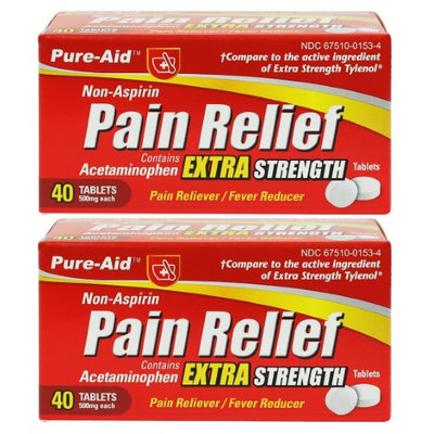 Dollaritem Wholesale Medicine Pain Relief Extra Strength 40Ct #Pure-Aid -Sold by 1 Case of 24 Pieces