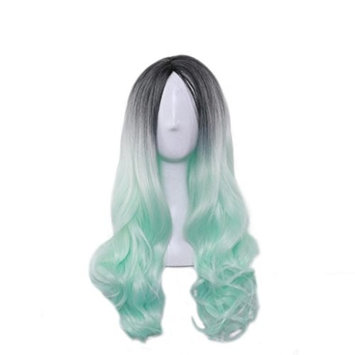 Charming Gradient Color Long Curly Women Hair Wig Dyed Synthetic Hairpiece Black and Green Ameesi