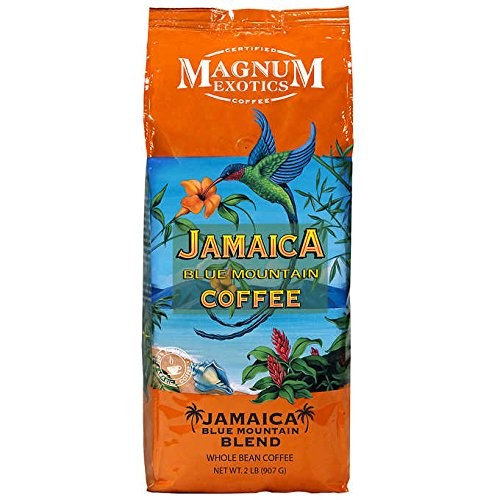 Magnum Exotics Jamaican Blue Mountain Blend Coffee, Whole Bean Coffee, Value Size of 2 Pack (4 Lb Total)