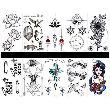 GGSELL GGSELL 10pcs tattoo peacock temporary tattoos in one packages,including lotus,sea horse,fish,flower jewelry,totem,sunflower,paper...