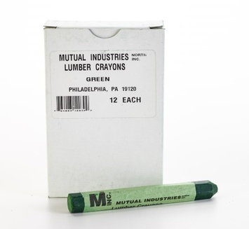 Mutual Industries Lumber Marking Crayons, Water Resistant, 4 1/2' x 1/2', Green (Pack of 12) (Pack of 2)