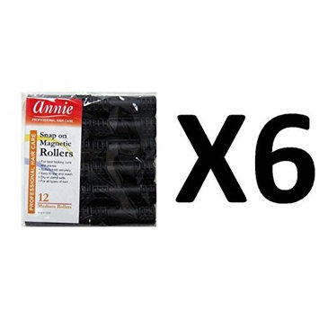 [ VALUE PACK OF 6] ANNIE SNAP ON MAGNETIC ROLLER BLACK MEDIUM #1233 (12CT/PACK) : Beauty