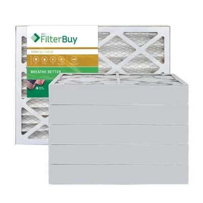 AFB Gold MERV 11 11.25x11.25x4 Pleated AC Furnace Air Filter. Filters. 100% produced in the USA. (Pack of 6)