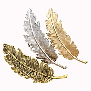 TOOGOO Lovely retro leaf shaped hair card, silver, gold, Old gold.