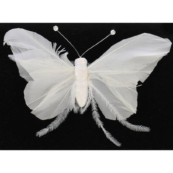 Touch of Nature 23275 Feather Butterfly White, 6-1/2-Inch