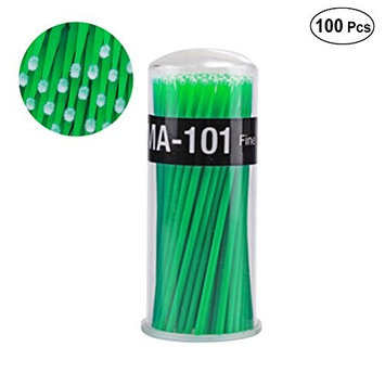 Frcolor 100pcs Eyelash Extension Cotton Swab Disposable Micro Applicator Brushes Mascara Brush Wands (Green Middle Size)