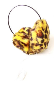 Fashion Knits Women's Leopard Earmuff Headphones- Yellow