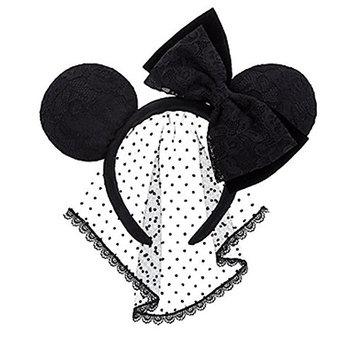 Disney Parks Minnie Ears Lace Bow & Veil Ear Headband - Black