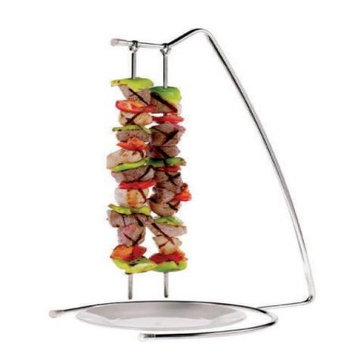 Paderno World Cuisine Stainless Steel Set of Four Grill Skewers and Stand