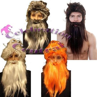 CC Caveman Pirate Wig And Beard Set Fancy Dress - Grey