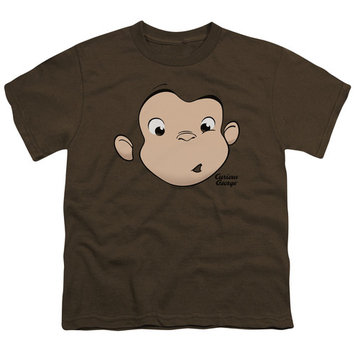 Curious George/George Face S/S Youth 18/1 Coffee Uni655 [clothing_size_type: clothing_size_type-regular]