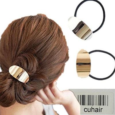 cuhair 2pcs Women Ladies Punk Vintage Metal Hollow Elastic Ponytail Holder Hair Tie Hair Accessories