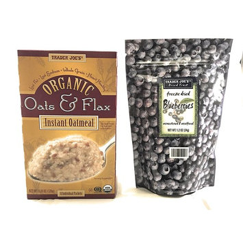 Trader Joe's Organic Oats and Flax Instant Oatmeal Bundle with Freeze Dried Blueberries