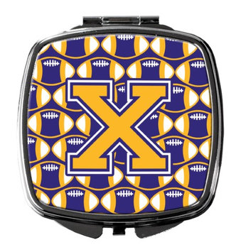Letter X Football Purple and Gold Compact Mirror CJ1064-XSCM