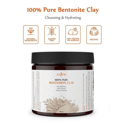Anjou Bentonite Clay Mask Powder Detox, 16 Oz, Natural Organic Detoxifying Healing Facial Mask to Exfoliate and Deep Pore Cleansing, Remove Excessive Oil, Rejuvenate Skin and Hair, Reduces Acne