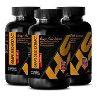 Regulate blood pressure - PURE GRAPE SEED EXTRACT 100 Mg - Grape seed vitamin - 3 Bottles - 90 Capsules