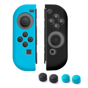 Nintendo Switch Joy-Con case, by Insten (Left BLUE + Right BLACK) Nintendo Switch Joy-Con Skin Case Cover with 2-Pcs Thumb Grip Stick Caps (Style 1) For Nintendo Switch Joy Con Left/Right Controller