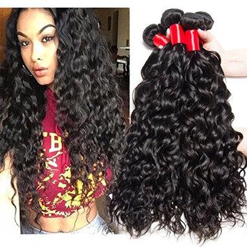 VIPbeauty Brazilian Hair Water Wave 3 Bundles Of 100% Unprocessed Human Hair 10A Weave Weft Natural Black