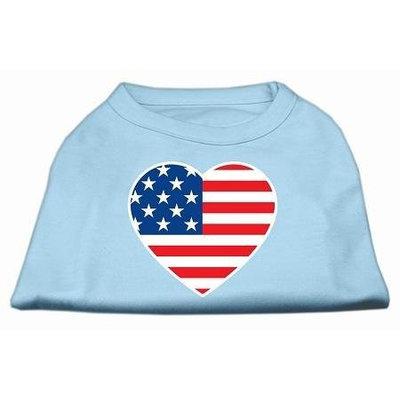 Ahi American Flag Heart Screen Print Shirt Baby Blue Med (12)