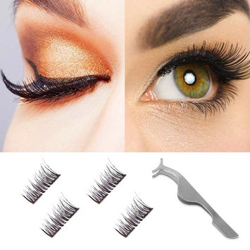 Dual Magnetic False Eyelashes-3D Fiber Natural Wispy Lashes Reusable Fake Eyelash Extensions-Ultra Thin Double Magnet Length:12MM 1Pair (4Pieces) Style 2