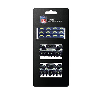 NFL San Diego Chargers Hair Accessory 2-Hair Clips and 3-Elastic Ponytail Bands