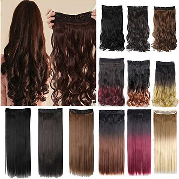 FLORATA 100% Real Soft Synthetic Hair 30inches(76cm) long straight ash blonde mix bleach blonde 1Pc with 5Clips Half Full Head Clip In Hair Extension for Elegant Lady
