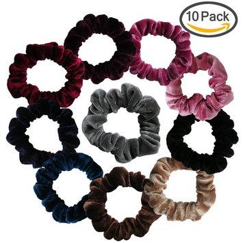 Velvet Scrunchies Pack, Yogaily 10 Pack Vintage Hair Scrunchy Hair Elastics Small Ponytail Holder Hair Ties for Women Girls, 10 Colors