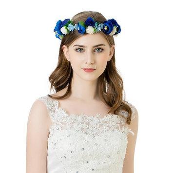 AWAYTR Flower Wreath Headband Crown Floral Garland for Festival Wedding (Red&White&Light purple)