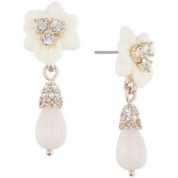 Gold-Tone Imitation Pearl & Crystal Flower Drop Earrings