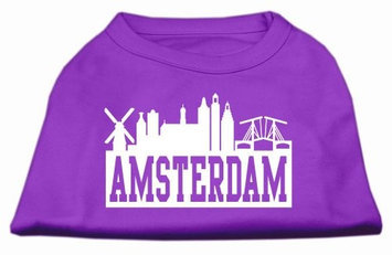 Mirage Pet Products 5167 MDPR Amsterdam Skyline Screen Print Shirt Purple Med 12
