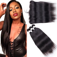 3 Bundles Brazilian Straight Hair With Frontal (10 12 14+8) 8A Virgin Remy Hair Weaves With 13x4 Ear To Ear Lace Frontal Closure Unprocessed Human Hair Bundles With Frontal Natural Color