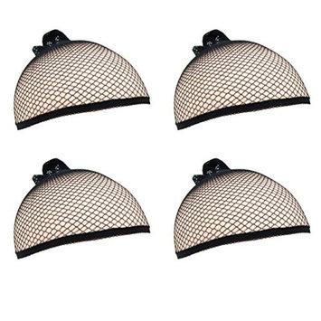 (4 Pack) Luxxii - Unisex New Fashion Weaving Wig Caps for Women Nylon Net Mesh Stretch Elastic (Black): Beauty