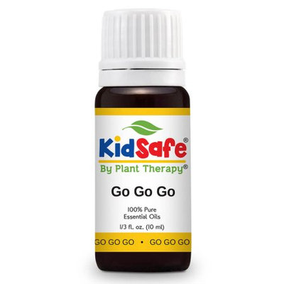 KidSafe Go Go Go Synergy Essential Oil Blend 10 ml (1/3 oz). 100% Pure, Undiluted, Therapeutic Grade. (Blend of: Tangerine, Orange, Cedarwood Atlas, Petitgrain, Palmarosa, Citronella, Ginger, Basil linalool and Sandalwood.)