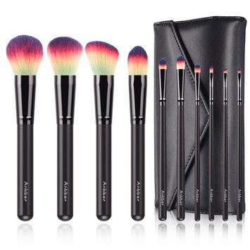 Anbber Makeup Brushes 10pcs Makeup Brush Set Premium Synthetic Kabuki Foundation Blending Blush Eyeliner Eye Shadow Face Concealer Powder Brush Kit with Makeup Organizer Bag