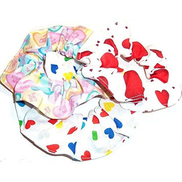 3 Valentines Day Hearts Hair Scrunchies Handmade by Scrunchies by Sherry Colorful Hearts Conversation Red