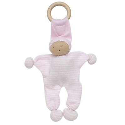 Under The Nile Organics Baby Buddy Teething Toy - Pale Pink Stripe