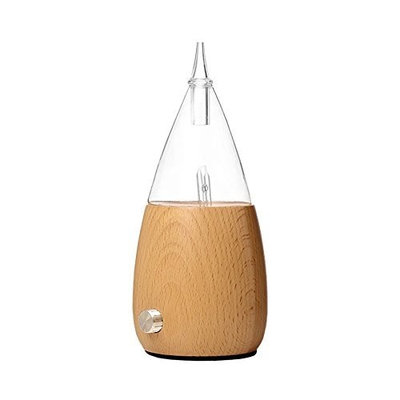Inhospro Mist Humidifier Ultrasonic Aroma Essential Oil Diffuser with Adjustable Mist, Reduce Noise Design and 7-Color LED Soft Light for Office Home Bedroom Living Room Yoga Spa-Wood Base& Glass Top