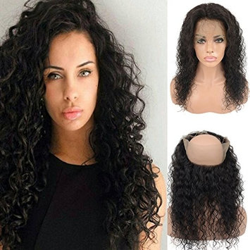 Brazilian Virgin 360 Human Hair Lace Frontal for Women, LLwear 130% Density Free Part Pre Plucked 360 Curly Closure with Baby Hair Natural Hairline Natural Color 18 Inch