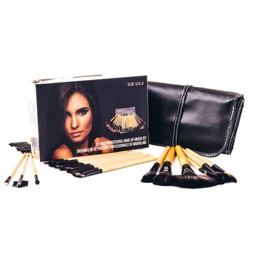 Zoe Ayla 32 Piece Professional Make-Up Brush Set with Handy Vegan Leather Travel Case - Wood