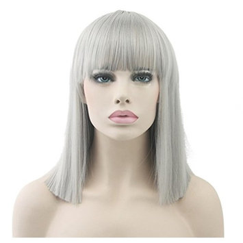 Short Straight Cosplay Pastel Wig Flat Bang Full Hair Party Wigs for Women Grey